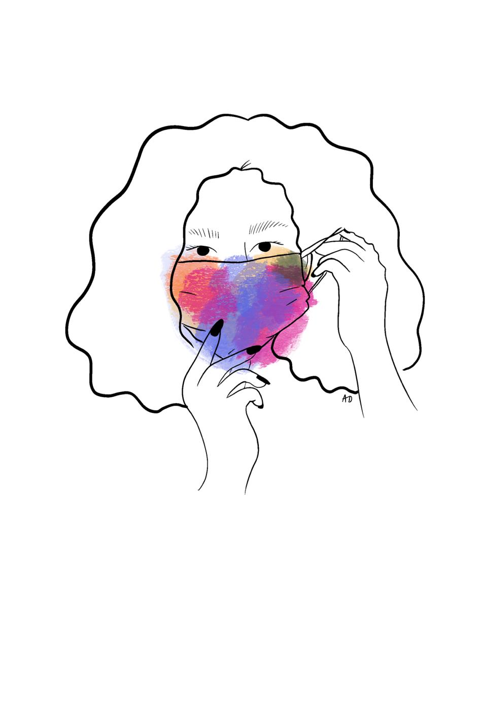 woman wearing face mask neighborhood feminists